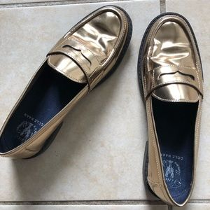 Cole Haan Gold Pinch Penny Loafers